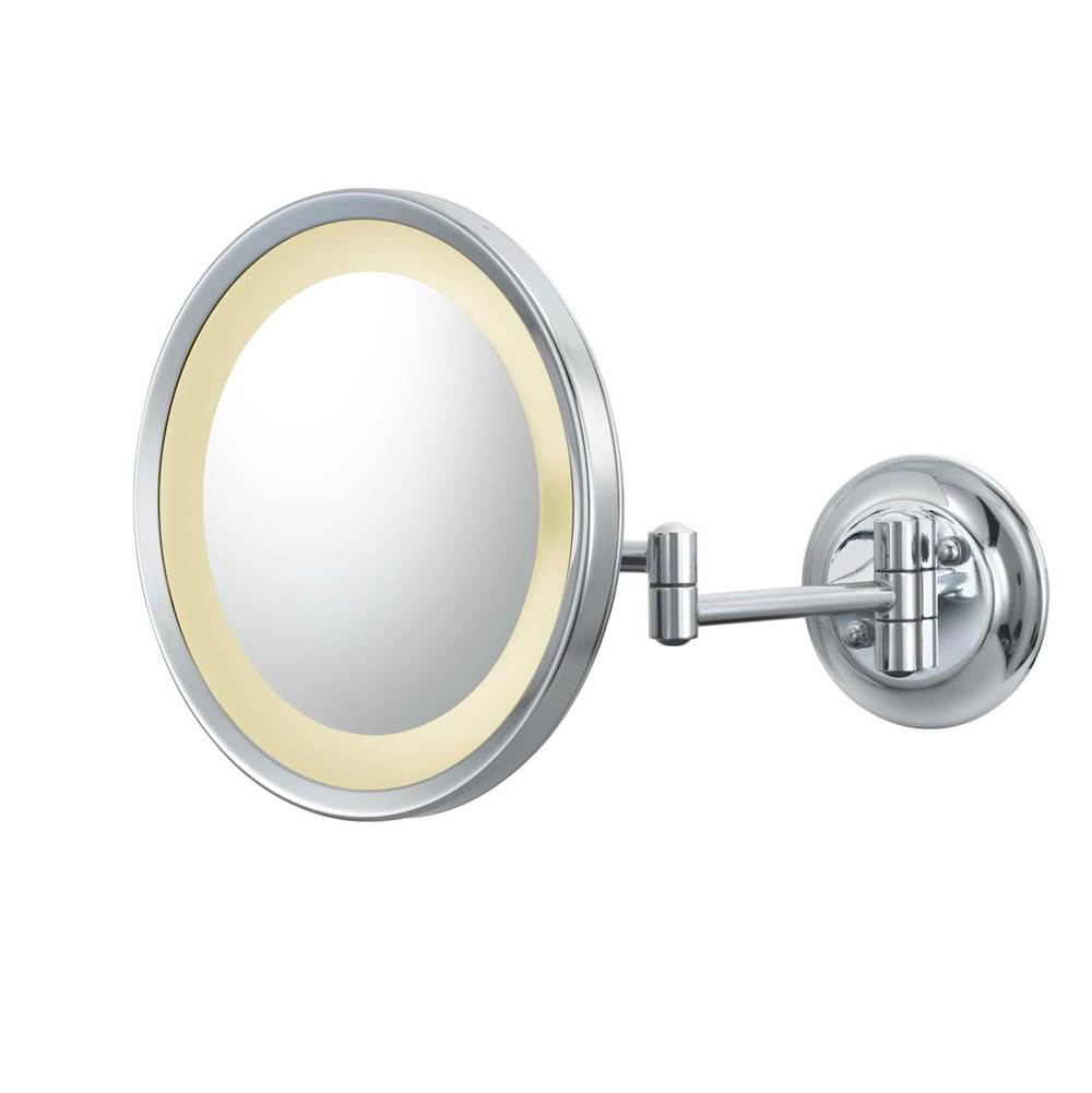 Aptations Round Magnified Mirror With Switchable Light Color in Chrome
