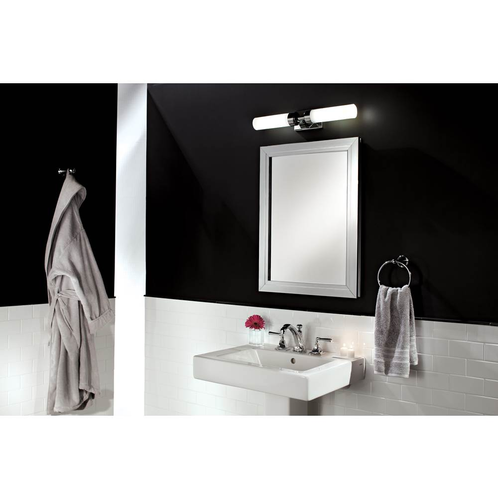GlassCrafters 24'' x 36'' Satin Chrome Deco Mirrored Medicine Cabinet - 6 Inch Deep