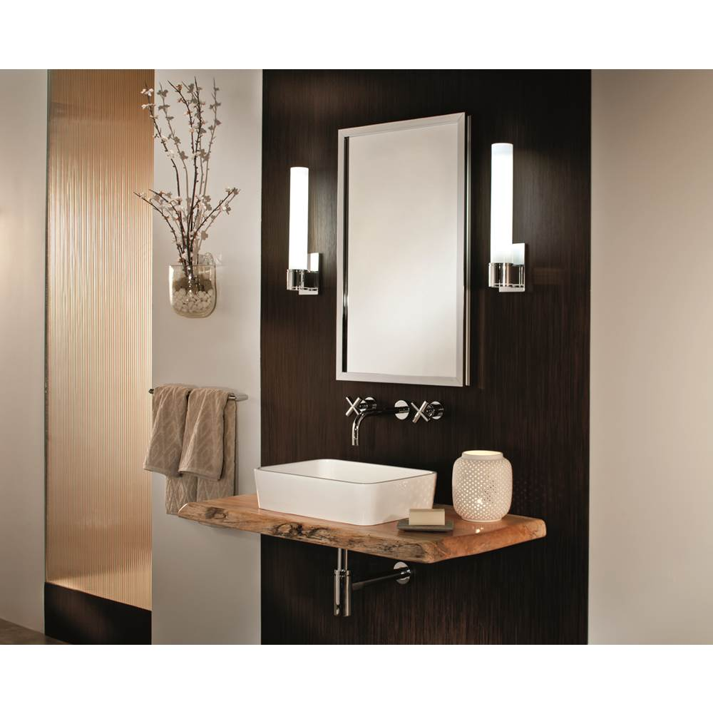 GlassCrafters 20'' x 36'' Satin Chrome Lexington Framed Mirrored Medicine Cabinet - 4 Inch Deep
