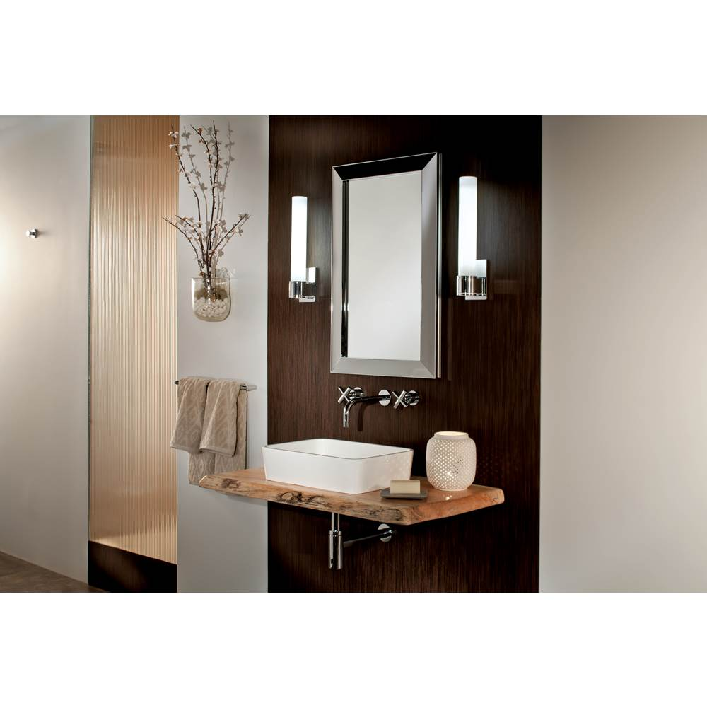 GlassCrafters 20'' x 36'' Satin Chrome Soho Framed Mirrored Medicine Cabinet - 4 Inch Deep