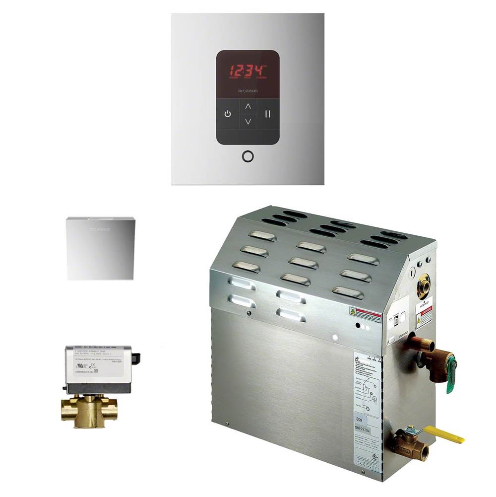 Mr. Steam 9kW Steam Bath Generator with iTempo AutoFlush Square Package in Polished Chrome