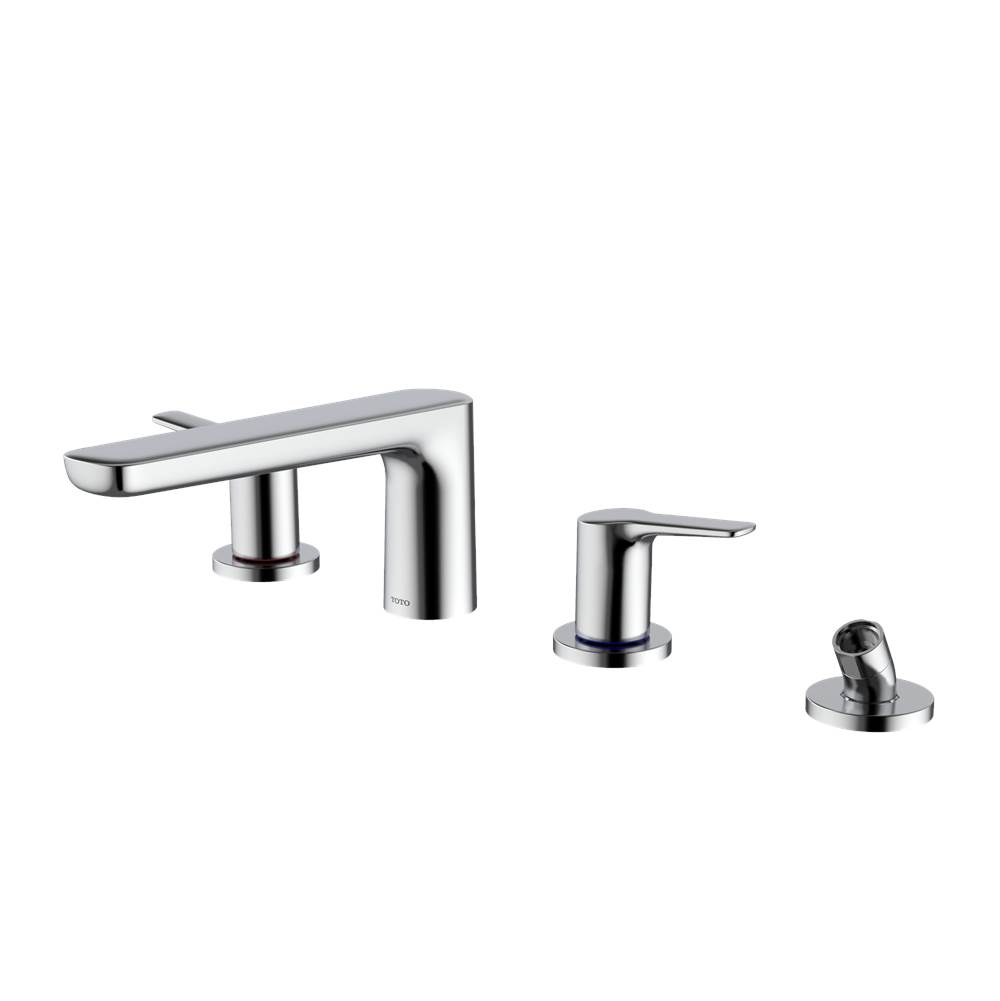 Toto GS Four-hole Deck-Mount Roman Tub Filler Trim with Handshower, Polished Chrome
